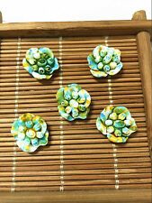 10pcs sky blue Resin Begonia flowers flatback Appliques For phone/wedding/craft0