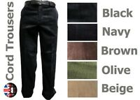 "Brand New Mens Cord Trousers Corduroy Cotton All Sizes 5 Colours 29"" inside leg"