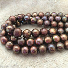 """6-7mm Genuine Natural Chocolate Freshwater Pearl Rondelle Loose Beads 15""""AAA+"""