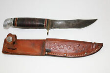 Vintage Western made in Boulder Colorado fixed blade hunting knife w/sheath 8.75