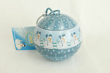 Vintage Blue Round Painted Snowman Christmas Ornament Holiday Tree Decoration