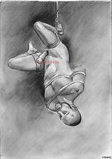 kunstdruck signiert Akt Erotic  nude,man ., Zeichnung ,bdsm. männer gay Print
