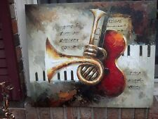 "OIL Painting- Guitar/ Brass/ Insrtuments Piano Keyboard-20""x24-Stretched.New"