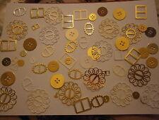100 Die Cut hebillas y botones Golds Mix. para Kanban/San Valentín/Boda/Navidad,