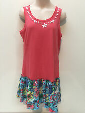 Justice Spring Summer Girl Teen Sequin Cotton Coral Dress Size 16