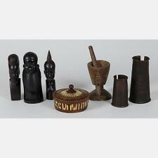 A Collection of African Carved Hardwood and Brass Decorative Items, 2... Lot 124