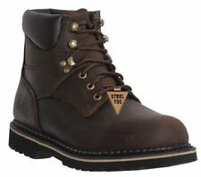"""McRae Mens Dark Brown 6"""" Lace Up Work Boot - Steel Toe MR86344 - Size 8 M"""