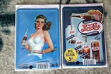 2 Mini Blechschild & Postkarte Pepsi Cola 10 x 14cm  Blechpostkarten NEU