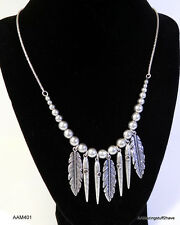 """Lucky Brand Feather Fringe Necklace Silver tone 30"""" Easy Adjustable  $45  NEW"""