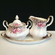 CH3992 ROYAL ALBERT AUTUMN ROSES CREAM & COVERED SUGAR SET WITH TRAY
