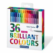 Staedtler Triplus 334 Fineliners Pens Fine 0.3mm Assorted Colours - Pack 36