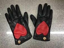 Vivienne Westwood Nappa 5651 Red Heart Black Leather Gloves Ladies Size XS