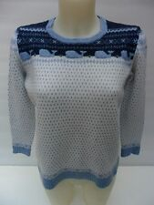 VINEYARD VINES LADIES SWEATER. BABY BLUE/WHITE WITH WHALE TRIM.SIZE M.