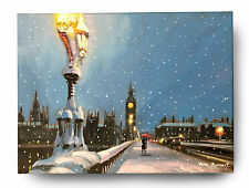 ORIGINAL FINE ART OIL PAINTING BY PETE RUMNEY 'LONDON CITY IN THE SNOW' BIG BEN