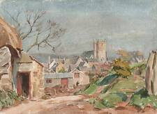 CHURCH IN LANDSCAPE Watercolour Painting c1960 IMPRESSIONIST