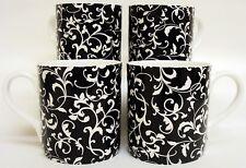 Venetian Mugs Set of 4 Fine Bone China Venetian Black Mugs Hand Decorated in UK