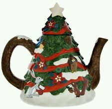 Disney Parks Retro Christmas Santa Mickey & Minnie Friends Ceramic Teapot Tree