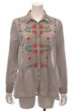 3J Workshop by Johnny Was; Bone Finley Peplum Buttoned Down Shirt, M