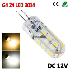 G4 24 SMD 3014 LED Spot Light Silicone Lamp Corn Bulb DC 12V 3W Warm/Day White
