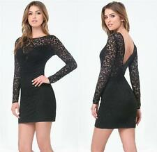 BEBE BLACK ELLIE LACE DEEP V BACK DRESS NWT NEW $129 XSMALL XS