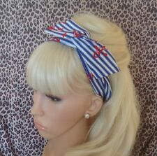 NEW ROYAL BLUE STRIPE RED ANCHOR COTTON BENDY WIRE HAIR HEAD BAND NAUTICAL STYLE