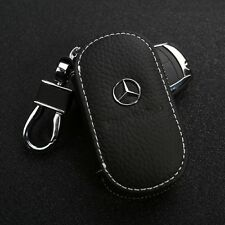 Genuine Leather cowhide Car Key Holder Keychain Ring Case Bag For Mercedes