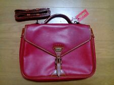 NWT Kenzo Shoulder Bag Satchel Red & Brown Leather Vintage