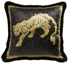 "Versace Leopard Vanity Black Gold Pillow - 19.7"" - Silk"