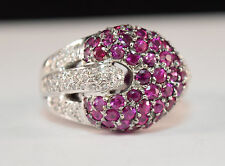 SONIA B 14k White Gold Cocktail Ring with Pink Tourmaline & Diamond Accents