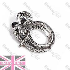 QUIRKY animal ELEPHANT HEAD RING vintage antique silver tone CRYSTAL adjustable