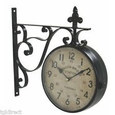 Hanging Bracket London Bridge Station Clock Reproduction Double Sided Home Decor
