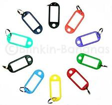 SET OF 10 PLASTIC DIFFERENT MULTI COLOURED CODED KEY RING TAGS FOBS & NAME CARDS