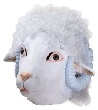 Sheep Mask Rams Deluxe FULL Latex Mask Head White Faux Hair Fur Sheeps Adult NEW