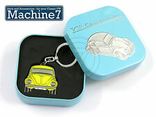 VW Beetle Key Ring Official Volkswagen Bug T1 Yellow Metal Keyring in Gift Box