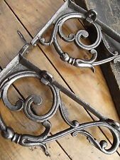 Vintage Victorian Style Cast Iron Shelf Brackets rack luggage dresser hook rail