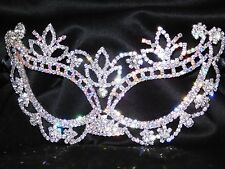 Silver & AB Rhinestone Crystal Masquerade Mask Mardi Gras Party Black Ribbon