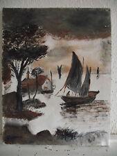 tableau ancien huile sur toile G Poissonnier (XXe-s) - marine