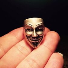 Anonymous Mask Ring 925 Sterling Silver Mens V For Vendetta Ring with Box