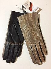 Sz: M FOWNES Women's Genuine Leather Metallic Gold Reptile & Brown Gloves