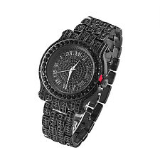 Black Hip Hop Watch Roman Numeral Black Simulated Diamonds Bling Steel Back New