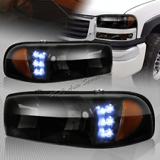 For GMC Yukon/Denali/Sierra LED Black/Smoke Lens Headlights W/Amber Reflector