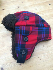 HOLLISTER TRUCKER FLEECE HAT FUR FLANNEL PRINT MEDIUM CHECK CAP WINTER RED