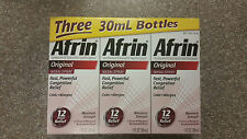 Afrin Original Nasal Spray & Decongestant 12 hr Relief 3 x 1 oz bottle