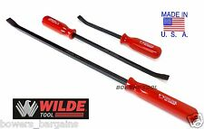 "Wilde Tool 3pc Curved Pry Bar Set Handle Crowbar 12, 17, 25"" Inch MADE IN USA"