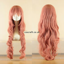 80cm long wavy curly cosplay wig in milkshake pink, UK seller, Jeri style