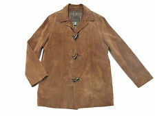 J Crew Mens Brown Suede Leather Toggle Coat Jacket S Western Hippie 70's