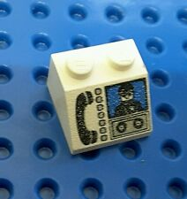 LEGO (3039px14) SLOPE BRICK 2x2 - PHONE & MINIFIG PATTERN - WHITE