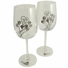 70th Wedding (Platinum) Anniversary Pair of Wine Glasses