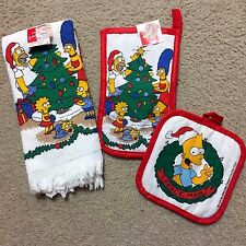1990 The Simpsons Christmas Kitchen Hand Towel-Oven Mit -Pot Holder*VINTAGE*NEW*