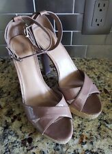 Mossimo Taupe Faux Patent Leather Ankle Strap Jute Heel Women's Size 9